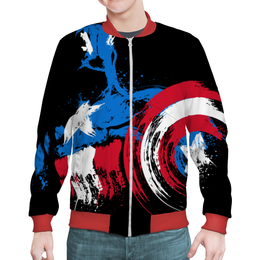 "Бомбер мужской ""Капитан Америка"" - комиксы, супергерои, капитан америка, марве"