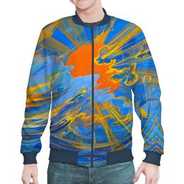 "Бомбер мужской ""Солнце"" - солнце, небо, облака, голубое, оранжевое"