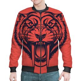 """Бомбер мужской """"Саблезубый тигр"""" - рисунок, тигр, саблезубый"""