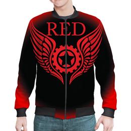 """Бомбер """"RED'S Logo"""" - red, мотоцикл, байкер, механика, шестерёнки"""