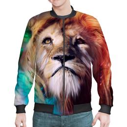 "Бомбер мужской ""Царь зверей"" - лев, краски, царь зверей, грива"