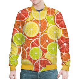 """Бомбер мужской """"Цитрусы"""" - апельсин, лайм, лимон, грейпфрут, дольки"""