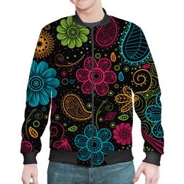 """Бомбер мужской """"Цветочный"""" - цветы, узор, стиль, рисунок, орнамент"""