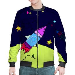 """Бомбер мужской """"ракета"""" - звезды, космос, полет, планеты, линии от руки"""