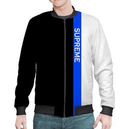 "Бомбер ""Supreme"" - supreme, надписи, полосы, суприм, линии"