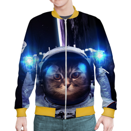 """Бомбер мужской """"Кот космонавт"""" - юмор, space, космос, наука, thespaceway"""