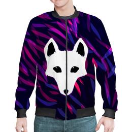 """Бомбер мужской """"Белый лис"""" - фиолетовый, лис, трава, животное, зверополис"""