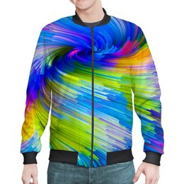 "Бомбер ""Abstract Rainbow"" - радуга, цвета, краски, абстракция"