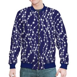 "Бомбер мужской ""Звёзды"" - новый год, рисунок, звёзды, гирлянды"