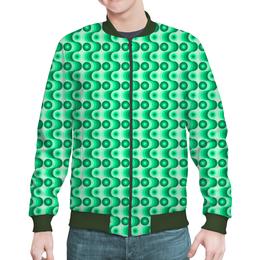 """Бомбер """"Ретро #1"""" - светлый, зеленый, волны, круги, темный"""