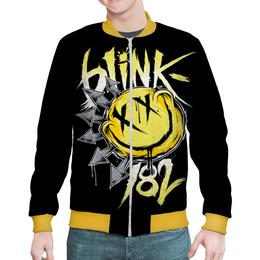 """Бомбер мужской """"Blink-182"""" - музыка, рисунок, смайлик"""