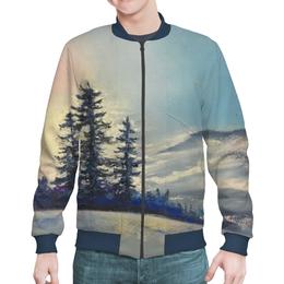 "Бомбер ""Зимнее небо"" - зима, лес, небо, синий, елки"