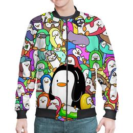 "Бомбер ""Пингвины"" - рисунок, пингвины, стиль"