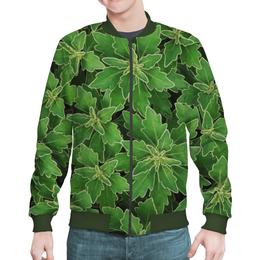 """Бомбер мужской """"Зеленые листья"""" - растение, лист, зеленый, куст"""