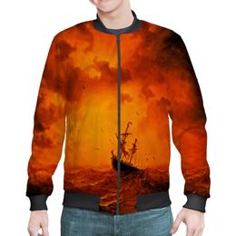 """Бомбер """"Шторм"""" - оранжевый, море, волны, корабль, шторм"""