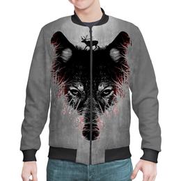 """Бомбер мужской """"Волк на охоте"""" - хищник, олень, волк, wolf"""