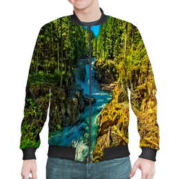 """Бомбер """"Лесной пейзаж"""" - деревья, природа, горы, пейзаж, река"""