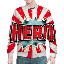 "Бомбер мужской ""HEROO"" - арт, комикс, дизайн, графика, иллюстрация"