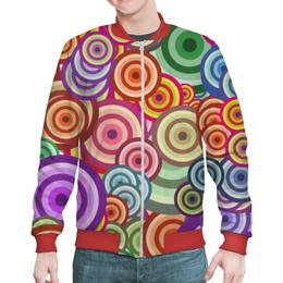 """Бомбер мужской """"Цветные круги"""" - узор, стиль, рисунок, абстракция, круги"""
