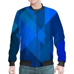 """Бомбер """"Синий абстрактный"""" - графика, синий, краски, абстракция, треугольники"""