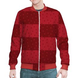 """Бомбер мужской """"Красный геометрический узор"""" - красный, тон, горох, прямоугольник, оттенок"""