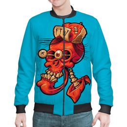 "Бомбер ""Череп весёлый арт"" - skull, череп, арт, прикол, дизайн"