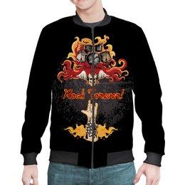 """Бомбер """"МУЗЫКА. РОК И МЕТАЛ"""" - музыкальные инструменты, стиль надпись логотип яркость, стиль эксклюзив креатив красота яркость, арт фэнтези"""