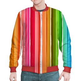 """Бомбер мужской """"Палитра"""" - узор, рисунок, разноцветный, полосатый, палитра"""