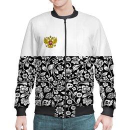 """Бомбер """"Цветы и герб"""" - цветы, россия, герб, орел, хохлома"""