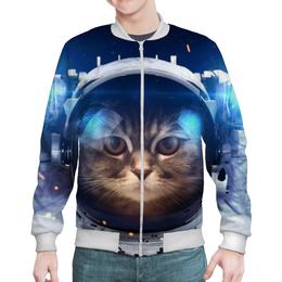 """Бомбер мужской """"Котосмонавт"""" - кот, космос, животное, костюм"""
