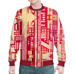 """Бомбер мужской """"Город будущего"""" - красный, розовый, киберпанк, небоскребы, мегаполис"""