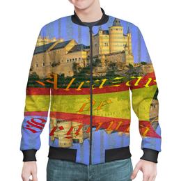 """Бомбер мужской """"Средневековой испанский замок Сеговия."""" - полоска, голубой, желтый, испания, испанский флаг"""