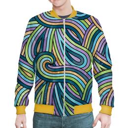 """Бомбер мужской """"Волнистый"""" - узор, рисунок, абстракция, разноцветный, волны"""