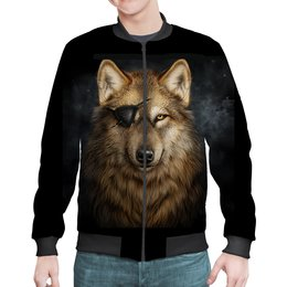 """Бомбер """"ВОЛКИ ФЭНТЕЗИ"""" - животные, портрет, повязка, одноглазый волк, арт фэнтези"""