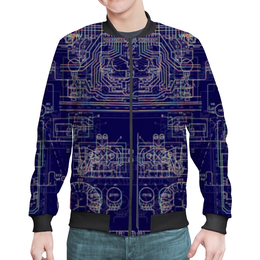 "Бомбер мужской ""Электросхема. Технологии в жизни."" - технологии, геймер, электроника, хакер, электрика"