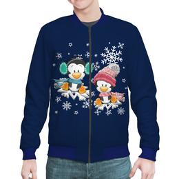 "Бомбер ""Пингвин зимой"" - новый год, зима, снежинки, пингвин"