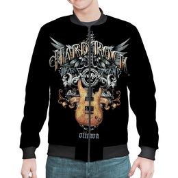 """Бомбер """"МУЗЫКА. HARD ROCK"""" - крылья, гитара, эмблема, стиль надпись логотип яркость, арт фэнтези"""