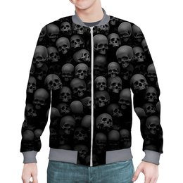 "Бомбер ""BlackSkull "" - skull, череп, скелет, абстракция, анатомия"