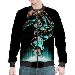 """Бомбер мужской """"Космический скейтбордист"""" - скейтборд, космос, абстракция, космонавт"""