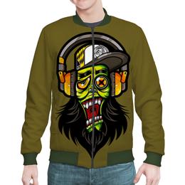 "Бомбер ""Зомби меломан"" - музыка, череп, zombie, зомби, наушники"