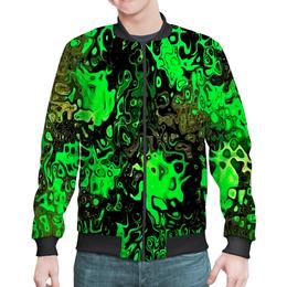 "Бомбер ""Серо-зеленый"" - рисунок, пятна, краски, брызги, серо-зеленый"