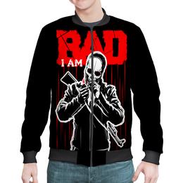 "Бомбер мужской ""I AM BAD"" - skull, череп, огонь, автомат, сила"