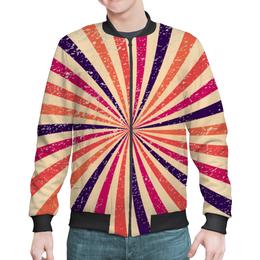 """Бомбер мужской """"Радужный"""" - радуга, полосы, винтаж, абстракция, лучи"""