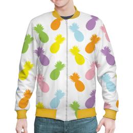 """Бомбер """"Ананасы!"""" - узор, ананас, фрукты, радуга, паттерн"""