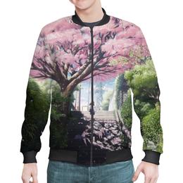 """Бомбер мужской """"Аниме пейзаж """" - весна, счастье, pink, япония, сакура"""