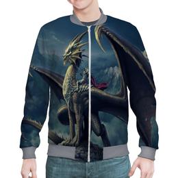 """Бомбер мужской """"СКАЗОЧНЫЙ ДРАКОН ВЕРХОМ РЫЦАРЬ."""" - дракон, фэнтэзи, рыцарь"""