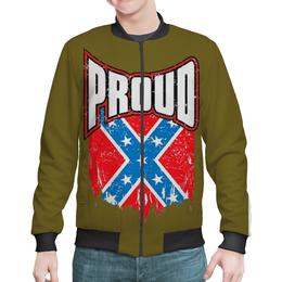 "Бомбер мужской ""Флаг Конфедерации США"" - америка, флаг, сша, флаг конфедерации, proud"