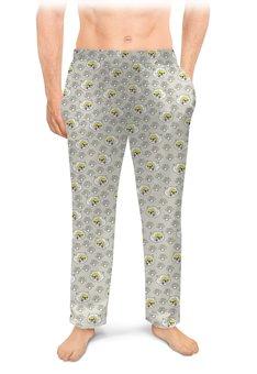 """Мужские пижамные штаны """"Кошачьи следы"""" - кошки, коты, котики, два кота, кошачий след"""
