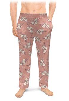 """Мужские пижамные штаны """"Ветки цветущей вишни"""" - цветок, весна, розовый, вишня, ветка"""