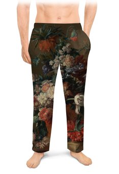 "Мужские пижамные штаны ""Ваза с цветами (Ян ван Хёйсум)"" - цветы, картина, живопись, натюрморт, ян ван хёйсум"
